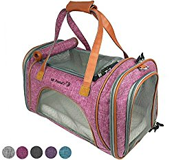 Mr. Peanut's Airline Approved Soft Sided Pet Carrier, Low Profile Luxury Travel Tote with Fleece Bedding & Safety Lock, Under Seat Compatability, Perfect for Cats and Small Dogs (Raspberry Red)