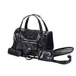 Anima Black Faux Crocodile Travel Bag, 15-Inch by 8-Inch by 10-Inch, Medium