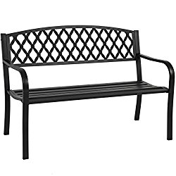 Best Choice Products 50″ Patio Garden Bench Park Yard Outdoor Furniture Steel Frame Porch Chair Seat