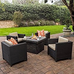 Venice Patio Furniture 5 Piece Outdoor Wicker Patio Chair Set with Propane Fire (Table) Pit (40,000 BTU)