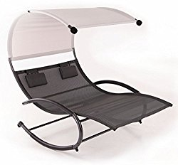 Belleze Double Chaise Rocker Patio Furniture Seat Chair Swing w/ Canopy & Pillow, Gray