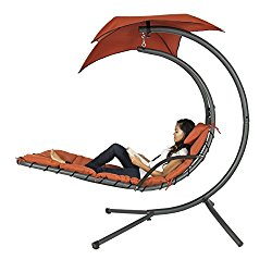 Best Choice Products Hanging Chaise Lounger Chair Arc Stand Air Porch Swing Hammock Chair Canopy Orange