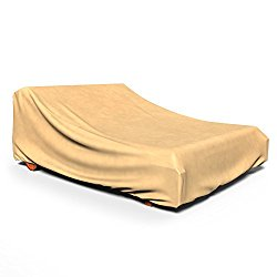 Budge All-Seasons Double Patio Chaise Lounge Cover, (Tan)