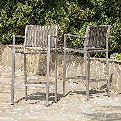 Capral Outdoor Grey Wicker Barstools (Set of 2)