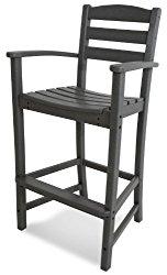 POLYWOOD TD202GY La Casa Café Bar Arm Chair, Slate Grey
