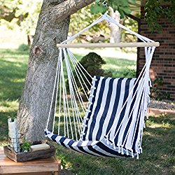 The Ultimate Padded Mesh Hanging Chair / Hammock – Navy Stripes with Durable Wood Spreader Bar and Hanging Ring