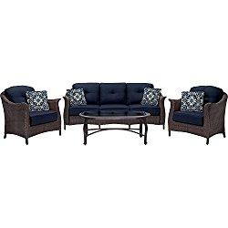 Hanover Outdoor Furniture Gramercy 4-Piece Wicker Patio Seating Set, Navy Blue