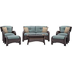 Hanover Outdoor Strathmere 6-Piece Lounge Set, Ocean Blue