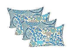 Set of 4 Indoor / Outdoor Decorative Lumbar / Rectangle Pillows – 2 Indigo Cancun Blue Grey Bohemian Elephants & 2 Indigo Blue Color Wheel