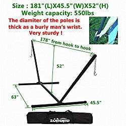 Zupapa 550 LBS Weight Capacity Hammock Stand 2 Steel Chains 1 Carry Bag Fit for 12 To 15 Feet Swing