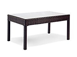 Resin Outdoor Garden Yard Patio Wicker Rectangular Coffee Table w/ Glass Color Black