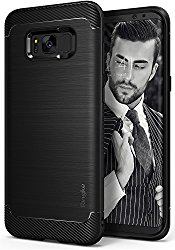 Galaxy S8 Plus Case, Ringke [Onyx] Fine Brushed Metal Design [Flexible & Slim] Dynamic Stroked Line Pattern Trim Durable Anti-Slip TPU Impact Shock-Absorbent Case for Samsung Galaxy S 8 Plus – Black