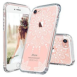 iPhone 7 Case, iPhone 7 Clear Case, MOSNOVO White Henna Mandala Floral Lace Clear Design Printed Transparent Plastic with TPU Bumper Protective Back Phone Case Cover for Apple iPhone 7 (4.7 Inch)