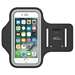 MoKo Armband for iPhone 7 / iPhone 6s / 6, Sweatproof Sports Running Armband Workout Arm Band Cover for iPhone 7, 6S, 6, 5S, 5, Galaxy S7, Moto G, BLU 5.0, Black (Fits Arm Girth 10.8″-16.5″)
