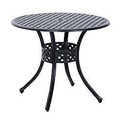 Outsunny Round Cast Aluminum Outdoor Dining Table – Black
