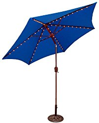 Tropishade Tropilight LED Lighted 9 ft Bronze Aluminum Market Umbrella with Royal Blue Polyester Cover