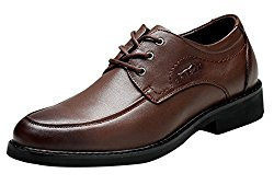 Tidecloth Men's Round Low Heel Cowhide Dress Shoes