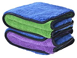 720gsm Ultra Thick Plush Microfiber Car Cleaning Towels Buffing Cloths Super Absorbent Drying Auto Datailing Towel (16″x24″, 2 Pack (blue/purple+blue/green))