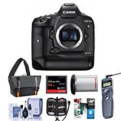 Canon EOS-1DX Mark II Digital SLR Camera – Bundle With 64GB Compact Flash Card, Camera Bag, LP-E19 Battery, Remote Shutter Trigger, Cleaning KIt, Memory Wallet, Software Package