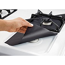 Generic Stovetop Burner Protectors Nonstick Reusable Black 4 Pack