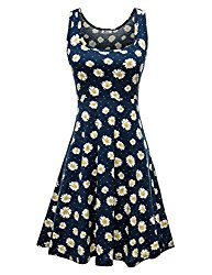 Herou Women Summer Beach Casual Flared Floral Tank Dress Medium Flower-B