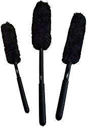 HOM Premium Wool Wheel Brushes Kit (3 Brushes) Scratch Free Brushes for Rims and Auto Detailing, Wheel Woolies, Rubber Grips, Holes in Handles, Detailing Kit, Durable Custom Design, Wheel Brush