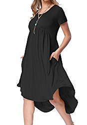 Levaca Womens Summer Knit Short Sleeve Pockets Swing Casual Shift Dress Black L