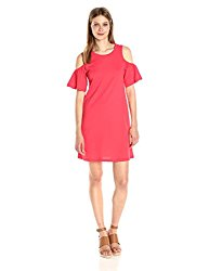 Vero Moda Women's Laura Cold Shoulder Short Dress, Hibiscus, Medium