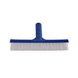 SupplyPro Pool Brush 10″ Wide Durable Pool Floor Wall Cleaning Tool Pool Broom Algae Remover Scrubber w/ Strong Connector & Soft Nylon Bristles for Cleaning All Pool Surfaces (Plastic Brush)