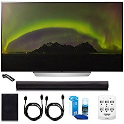 LG OLED55E7P – 55″ E7 OLED 4K HDR Smart TV w/ Sound Bar Bundle Includes, 4.1ch Wi-Fi Sound Bar w Wireless Subwoofer + 2x 6ft HDMI Cable + Universal Screen Cleaner + 6 Outlet Wall Tap w/ 2 USB Ports