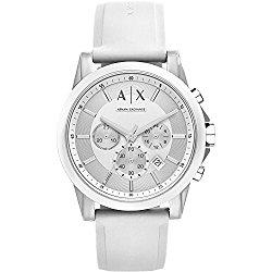 A|X Armani Exchange Mens Silvertone White Nylon With Silicone Straps Watch