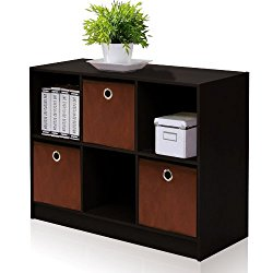 Furinno 99940 EX/BR 3×2 Bookcase Storage with Bins, Espresso/Brown
