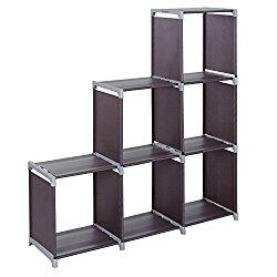 SONGMICS 3-tier Storage Cube Closet Organizer Shelf 6-cube Cabinet Bookcase Dark Brown ULSN63Z