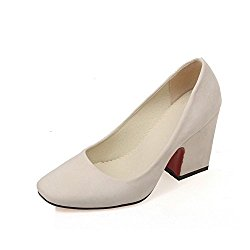 BalaMasa Ladies Chunky Heels Low-Cut Uppers Square-Toe Urethane Pumps Shoes