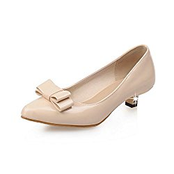 BalaMasa Womens Bows Low-Cut Uppers Pointed-Toe Urethane Pumps Shoes