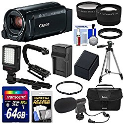 Canon Vixia HF R800 1080p HD Video Camera Camcorder (Black) with 64GB Card + Battery & Charger + Case + Tripod + Stabilizer + LED + Mic + 2 Lens Kit