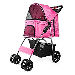 Flexzion Pet Stroller Dog Cat Small Animals Carrier Cage 4 Wheels Folding Flexible Easy Walk for Jogger Jogging Travel Up to 30 Pounds With Rain Cover Cup Holder and Mesh Window, Pink