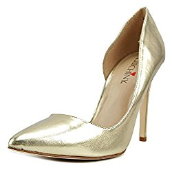 Luichiny Dance Queen Women Pointed Toe Leather Gold Heels