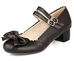 Mofri Women's Sweet Bowknot Buckled Strap Round Toe OL Work Shoes Low Block Heel Pumps