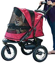 Pet Gear No-Zip Jogger Pet Stroller, Zipperless Entry, Rugged Red