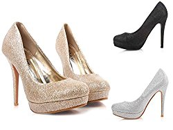 "Sparkling Wedding Party Round Toe Slip on 4.75"" Stiletto High Heels Glitter Netting Shoes"