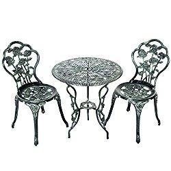 Giantex Patio Furniture Cast Aluminum Rose Design Bistro Set Antique Green (Green)