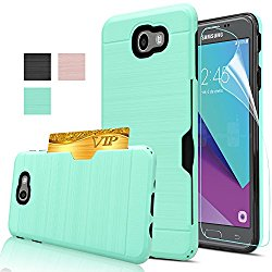 Galaxy J7 Prime Case With HD Screen Protector,[Not Fit Metro PCS],AnoKe[Card Slots Holder][Not Wallet] Plastic TPU Hybrid Shockproof Case For Samsung Galaxy J7 Prime KC2 Mint