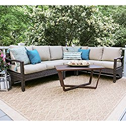 Leisure Made 5 Piece Augusta Wicker Sectional, Tan Fabric