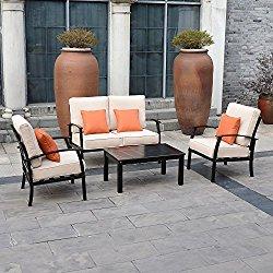 Outsunny 4 Piece Outdoor Aluminum Patio Conversation Lounge Set