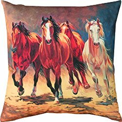 Manual Climaweave Indoor/Outdoor Square Decorative Throw Pillow, 18-Inch, Hoofbeats and Heartbeats