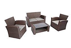 Baner Garden Outdoor Furniture Complete Patio 4Piece Cushion Pe Wicker Rattan Garden Set, (N87-CH), Chocolate
