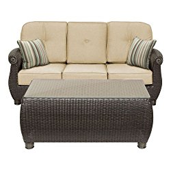 La-Z-Boy Outdoor Breckenridge Resin Wicker Patio Furniture Sofa with Pillows and Coffee Table Set (Natural Tan) With All Weather Sunbrella Cushions