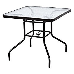 Tangkula 31.5″ Patio Square Table Tempered Glass Metal Table Garden Yard Dining Table