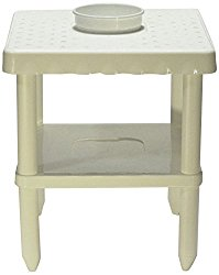 Sana Enterprises Our Portable Two Shelf Table Includes A Built-in Bowl and is Great for Beach, Garden, Home, RV and Camping, White